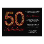 Fabulous 50th Red Black Leopard Birthday Party Custom Invite