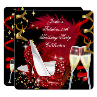 Fabulous 50th Red Glitter High Heel Birthday Party Card