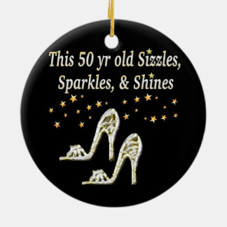 FABULOUS 50TH SILVER SHOE QUEEN ROUND CERAMIC DECORATION