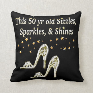 FABULOUS 50TH SILVER SHOE QUEEN THROW PILLOW