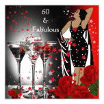 Fabulous 60 60th Birthday Party Red Roses Martini 13 Cm X 13 Cm Square Invitation Card