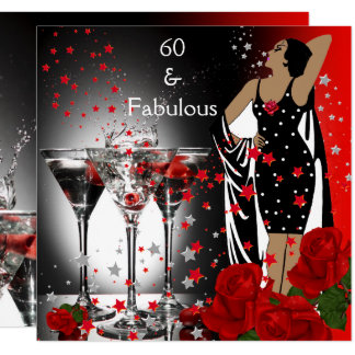 Fabulous 60 60th Birthday Party Red Roses Martini Card