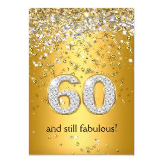 Fabulous 60 Gold Silver Streamers 60th Birthday 13 Cm X 18 Cm Invitation Card