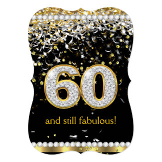 Fabulous 60 Gold Silver Streamers 60th Party 13 Cm X 18 Cm Invitation Card