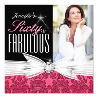 Fabulous 60 Photo Damask Pink 60th Birthday Party Invite