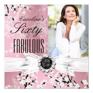 Fabulous 60 Photo Elegant Pink Blossom Birthday 2 Card
