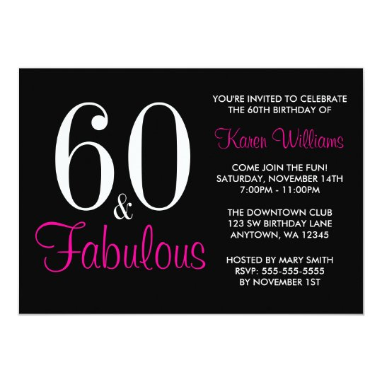 Fabulous 60th Black Pink Birthday Party Invitation