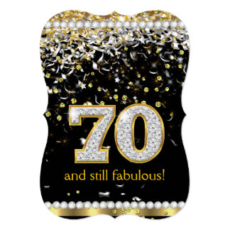 Fabulous 70 Gold Silver Streamers 70th Party 13 Cm X 18 Cm Invitation Card