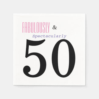 Fabulous and Fifty Birthday Party Paper Napkins