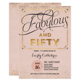 Fabulous and Fifty Rose Gold Party Invitation