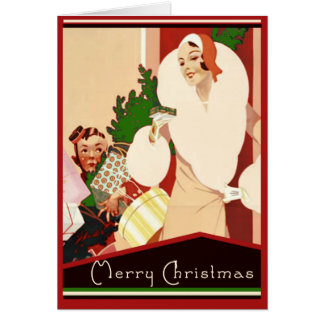Fabulous Art Deco Merry Christmas Glamorous Greeting Card