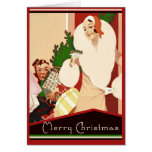 Fabulous Art Deco Merry Christmas Glamourous Greeting Card