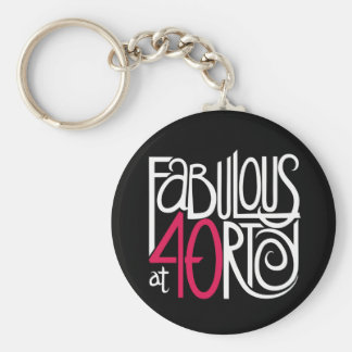 Fabulous at 40rty white Keychain