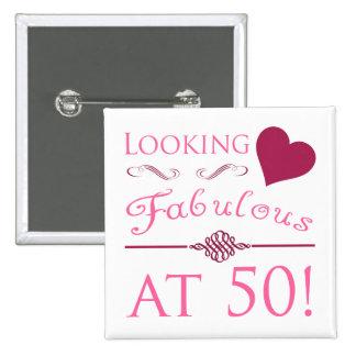Fabulous At 50 15 Cm Square Badge