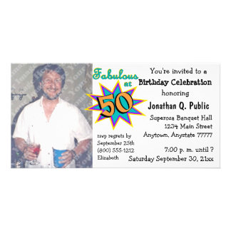 Fabulous At 50 Birthday Party Photo Invitation Customised Photo Card