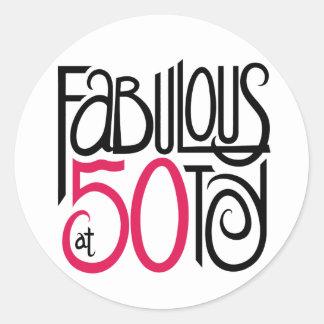 Fabulous at 50 classic round sticker