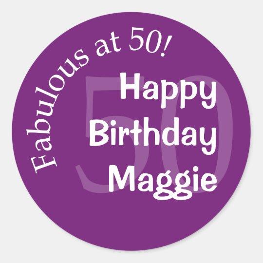 Fabulous at 50 Round Sticker - Purple