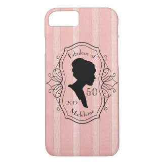 Fabulous at Fifty Cameo Lady Silhouette Dusty Pink iPhone 8/7 Case