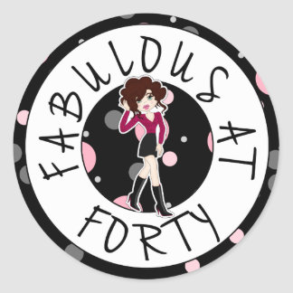 Fabulous at Forty Cute Cartoon Diva Girl Classic Round Sticker