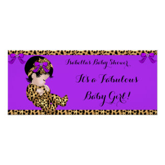 Fabulous Baby Shower Baby Cute Girl Leopard Poster