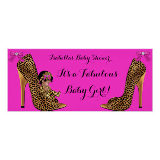 Fabulous Baby Shower Baby Cute Girl Leopard Shoe Poster