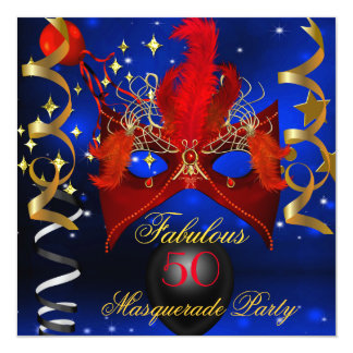 Fabulous Birthday Blue Red Gold Masquerade Party 13 Cm X 13 Cm Square Invitation Card
