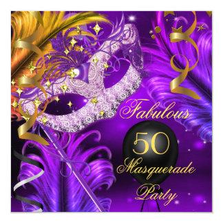 Fabulous Birthday Purple Gold Masquerade Party 2 13 Cm X 13 Cm Square Invitation Card