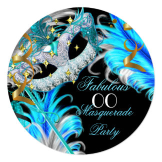 Fabulous Birthday Teal Blue Gold Masquerade Party 5.25x5.25 Square Paper Invitation Card