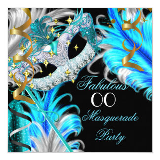 Fabulous Birthday Teal Blue Gold Masquerade Party 13 Cm X 13 Cm Square Invitation Card