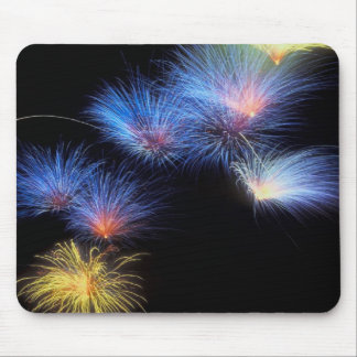 Fabulous, blue and gold starburst fireworks, mouse mouse pad