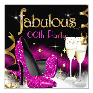 Fabulous Champagne Party Glitter Pink High Heel 13 Cm X 13 Cm Square Invitation Card