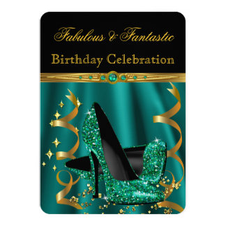 Fabulous Emerald Green Gold Heels Birthday Party 11 Cm X 16 Cm Invitation Card