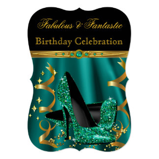 Fabulous Emerald Green Gold Heels Birthday Party 13 Cm X 18 Cm Invitation Card