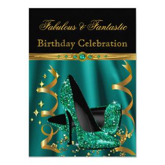 Fabulous Emerald Green Gold Heels Birthday Party 11 Cm X 16 Cm Invitation Card