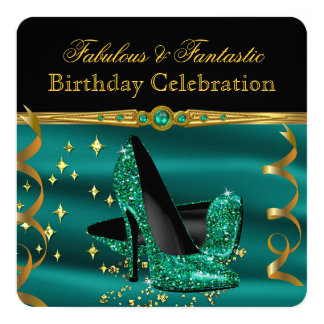 Fabulous Emerald Green Heels Gold Birthday Party 5.25x5.25 Square Paper Invitation Card