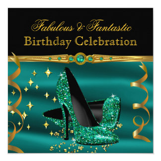 Fabulous Emerald Green Heels Gold Birthday Party 13 Cm X 13 Cm Square Invitation Card