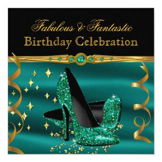Fabulous Emerald Green Heels Gold Birthday Party 13 Cm X 13 Cm Square Invitation Card