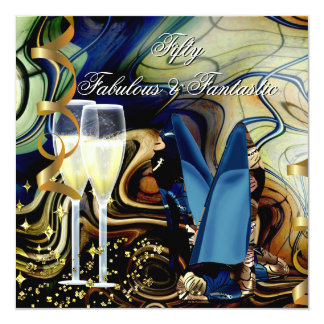 Fabulous Fantastic Abstract Blue Gold Beige Party 5.25x5.25 Square Paper Invitation Card