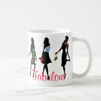 fabulous fashion women silhouettes coffee mug