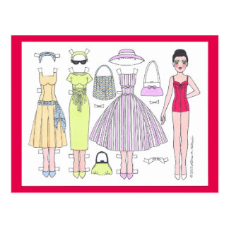 Fabulous Fifties: Polly Paper Doll Postcard
