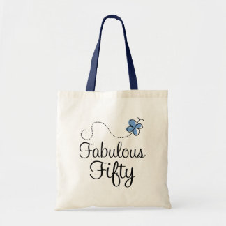 Fabulous Fifty Blue Butterfly Birthday Gift Canvas Bags