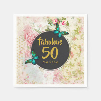 Fabulous Fifty Butterfly on Vintage Collage Disposable Napkins