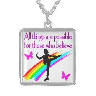 FABULOUS FIGURE SKATER STERLING SILVER NECKLACE