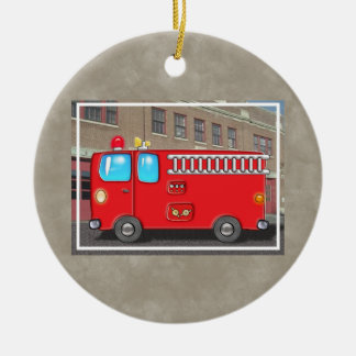 Fabulous Fire Truck and Fire Station Round Ceramic Decoration