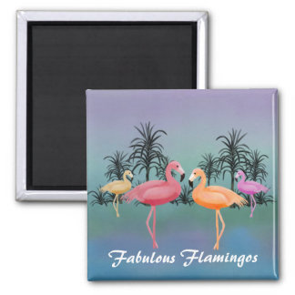 Fabulous Flamingos Square Magnet