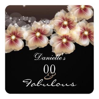 Fabulous Floral Flowers Coffee Chocolate Black 13 Cm X 13 Cm Square Invitation Card