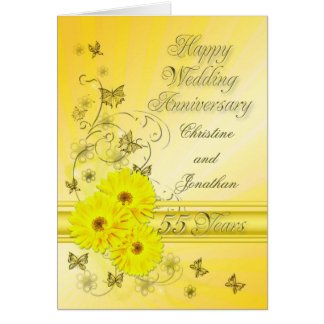 Fabulous flowers 55th anniversary for a couple card