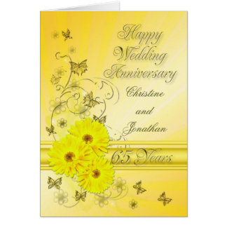 Fabulous flowers 65th anniversary for a couple card