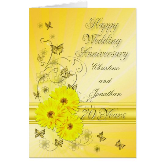 Fabulous flowers 70th anniversary for a couple card