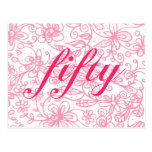 Fabulous Flowery Fifty Postcard